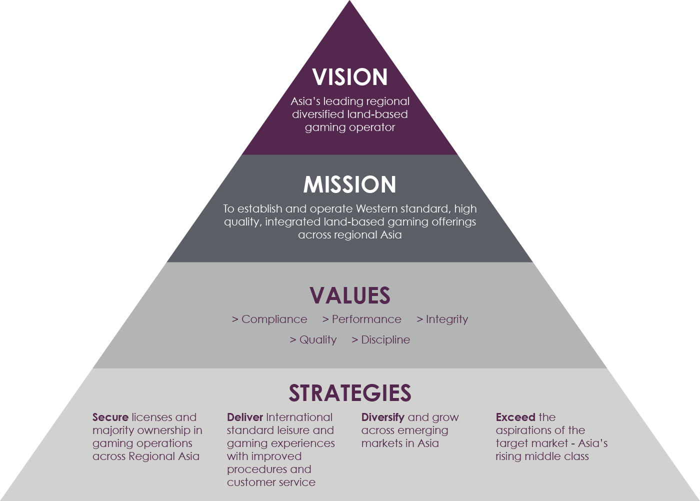 Vision, Mission, Values and Strategies Pyramid